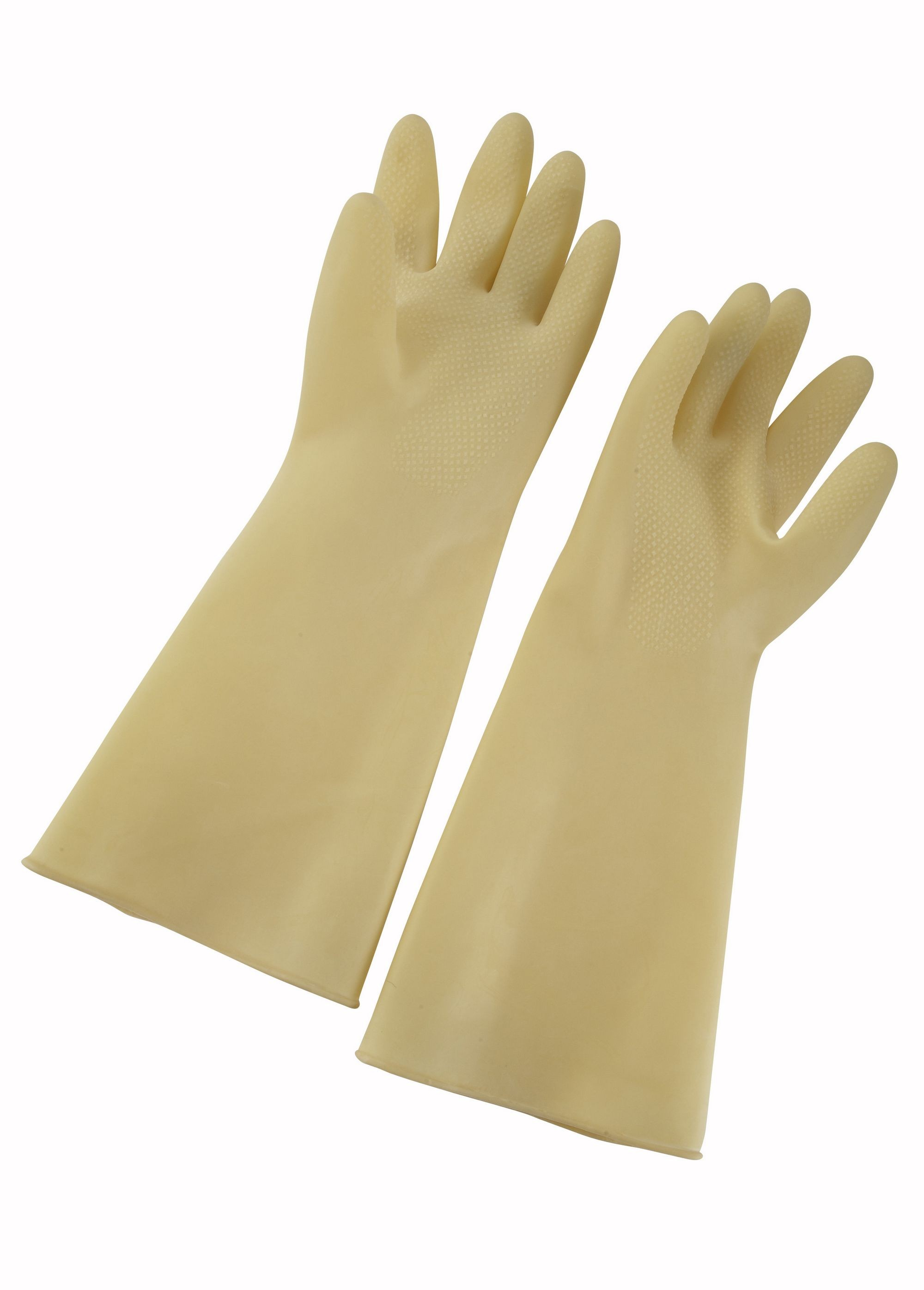 "Winco NLG-816 Natural Ivory Latex Gloves 8-1/2"" x 16"""