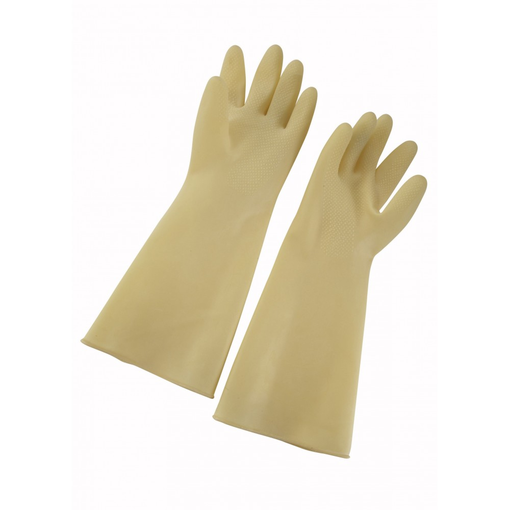 "Winco nlg-916 Natural Ivory Latex Gloves 9"" x 16"""