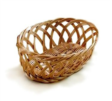 "TableCraft 1136W Natural Oval Handwoven Basket 9-1/4"" x 7"""