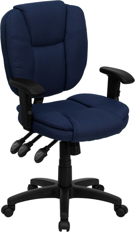Flash Furniture GO-930F-NVY-ARMS-GG Navy Blue Fabric Multi Function Task Chair with Arms