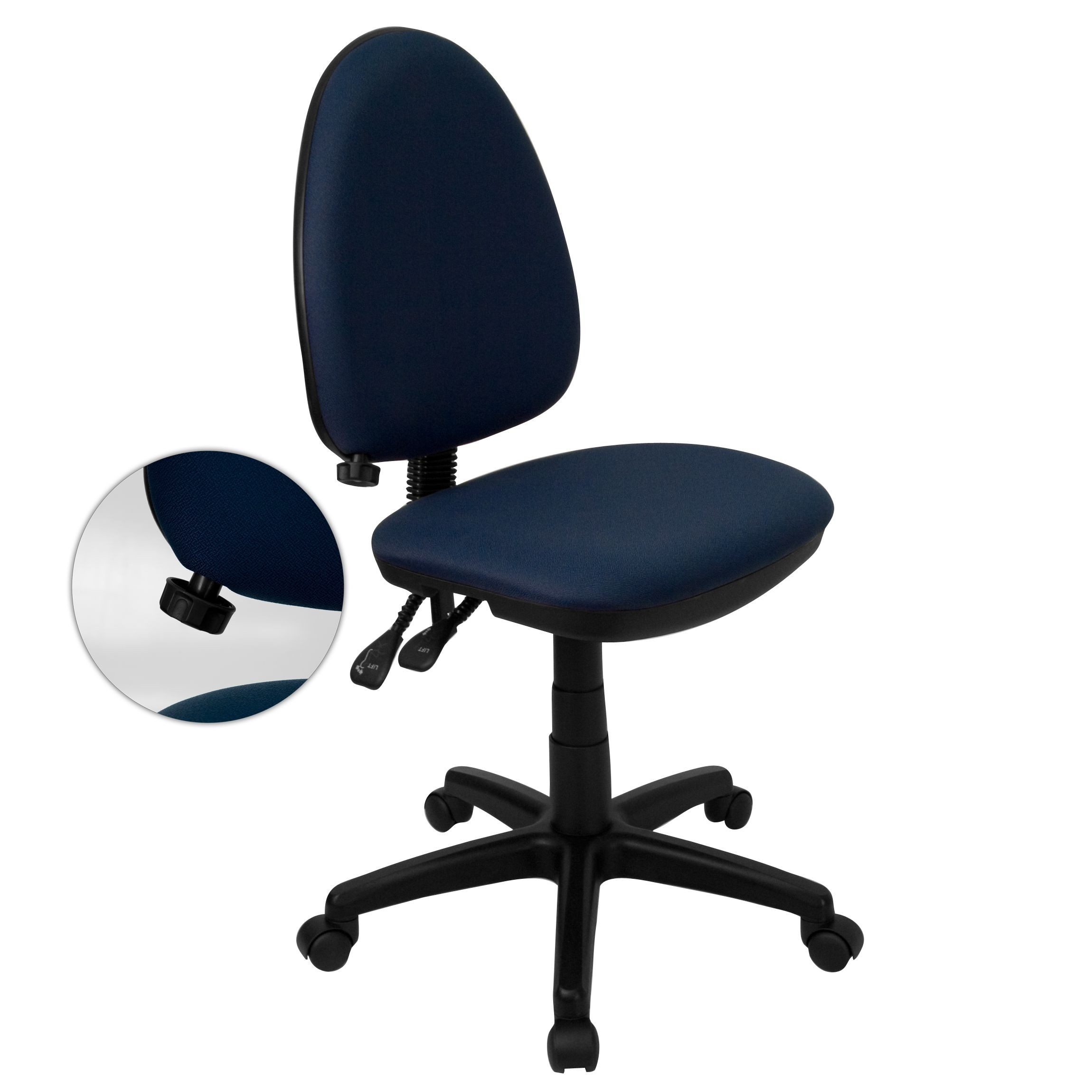 Navy Blue Fabric Multi-Function Task Chair with Adjustable Lumbar Support