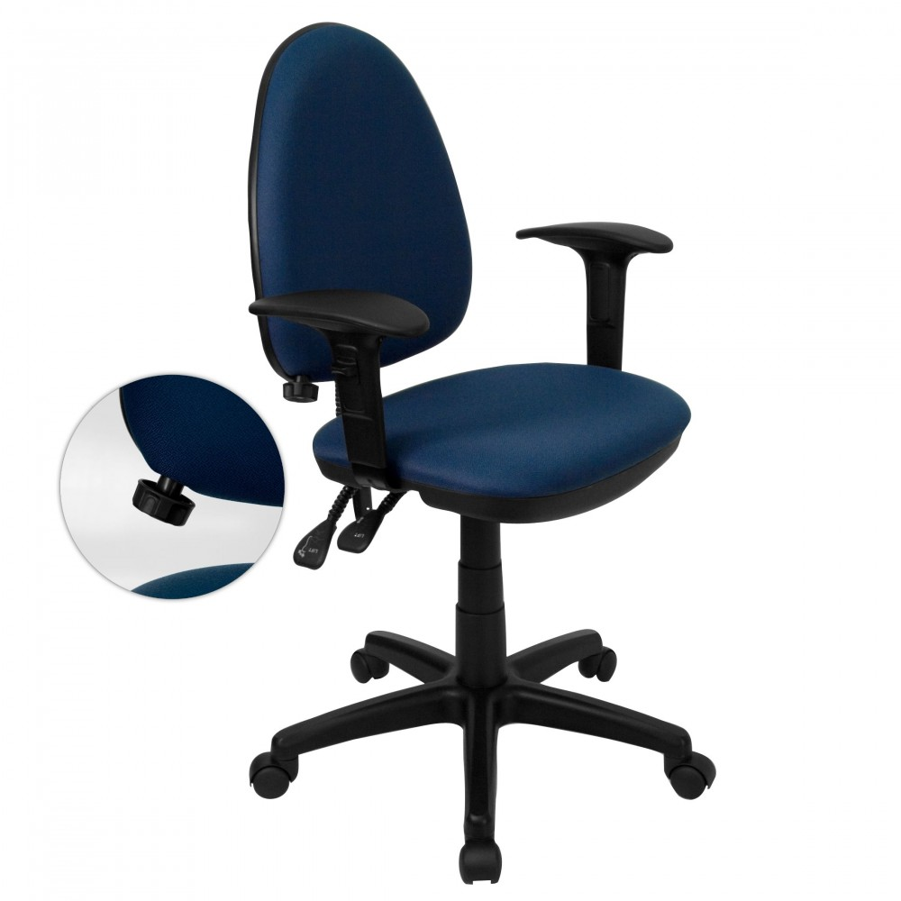 Navy Blue Fabric Multi-Function Task Chair with Adjustable Lumbar Support, Arms