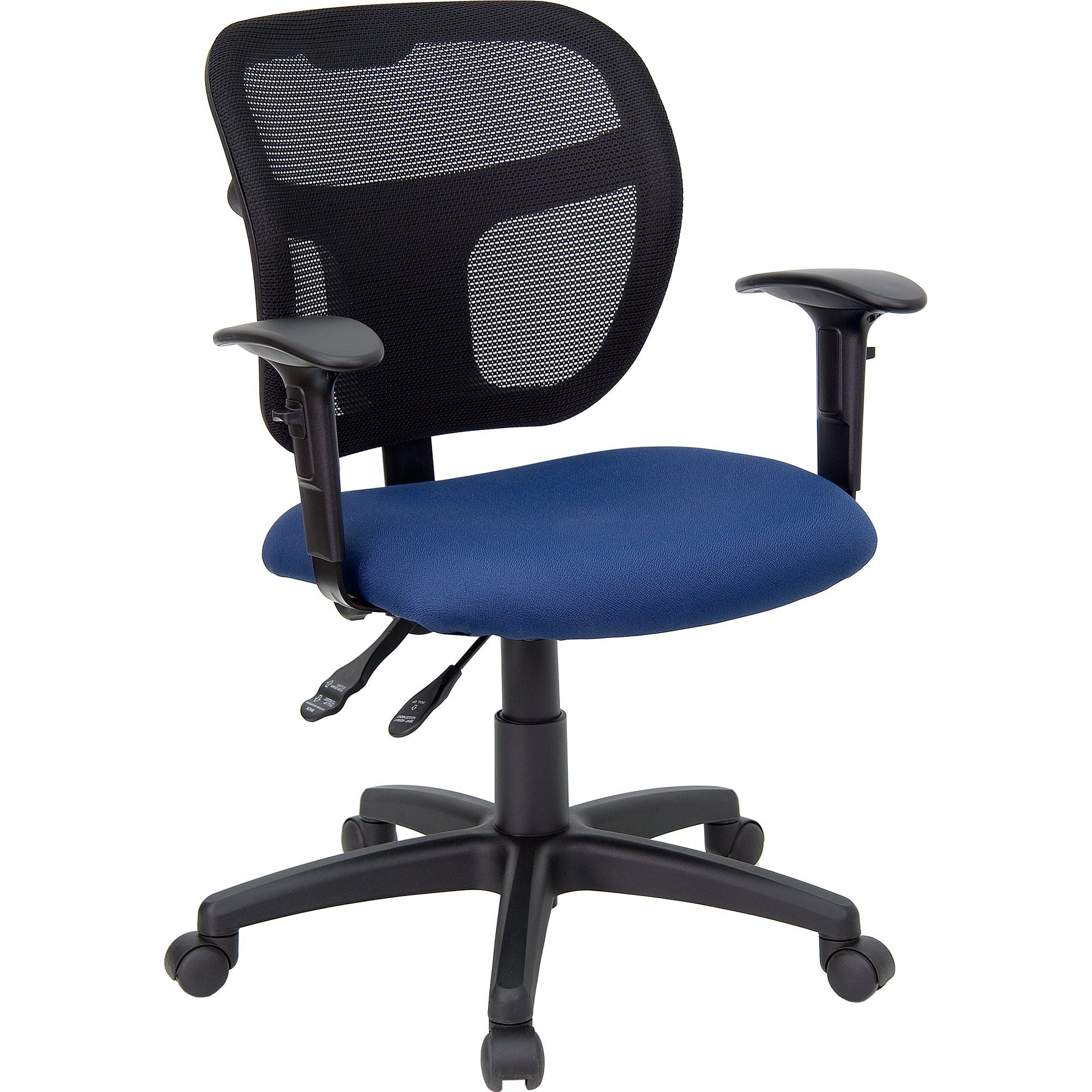 Navy Blue Fabric and Mesh Task Chair with Arms