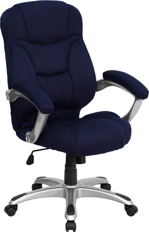 Navy Blue Microfiber High Back Office Chair