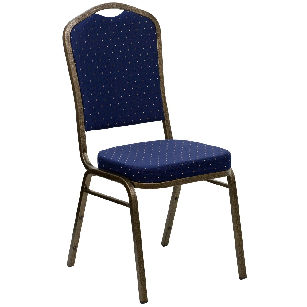 Navy Blue Patterned Crown Back HERCULES Banquet Chair - Gold Vein Frame