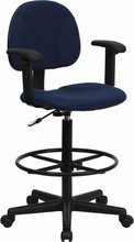 Navy Blue Patterned Fabric Ergonomic Drafting Stool with Arms (Adjustable Range 26''-30.5''H or 22.5''-27''H)