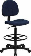 Navy Blue Patterned Fabric Ergonomic Drafting Stool (Adjustable Range 26''-30.5''H or 22.5''-27''H)