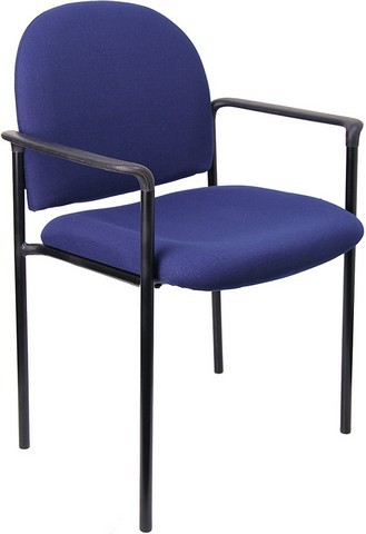 Flash Furniture BT-516-1-NVY-GG Navy Blue Steel Stacking Chair with Arms with Arms