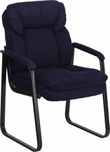 Flash Furniture GO-1156-NVY-GG Navy Micro Fiber Executive Side Chair with Sled Base