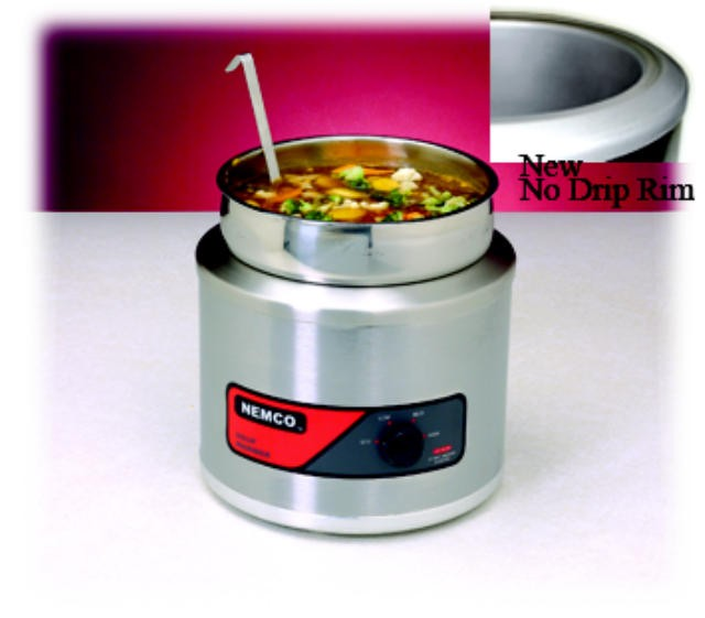 Nemco Countertop 7-Quart Round Cooker Warmer With Cover/Inset/Ladle