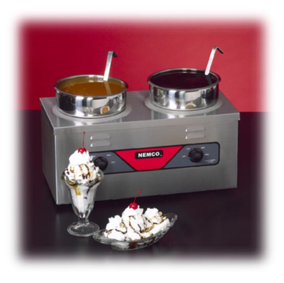 Nemco Countertop Twin Well 4-Quart Warmer With Cover/Inset/Ladle