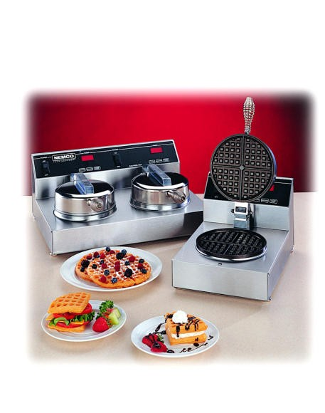 Nemco Digitally-Controlled Dual Waffle Baker With Silverstone