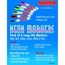 Aarco Products MFL-6 Neon Wet Markers