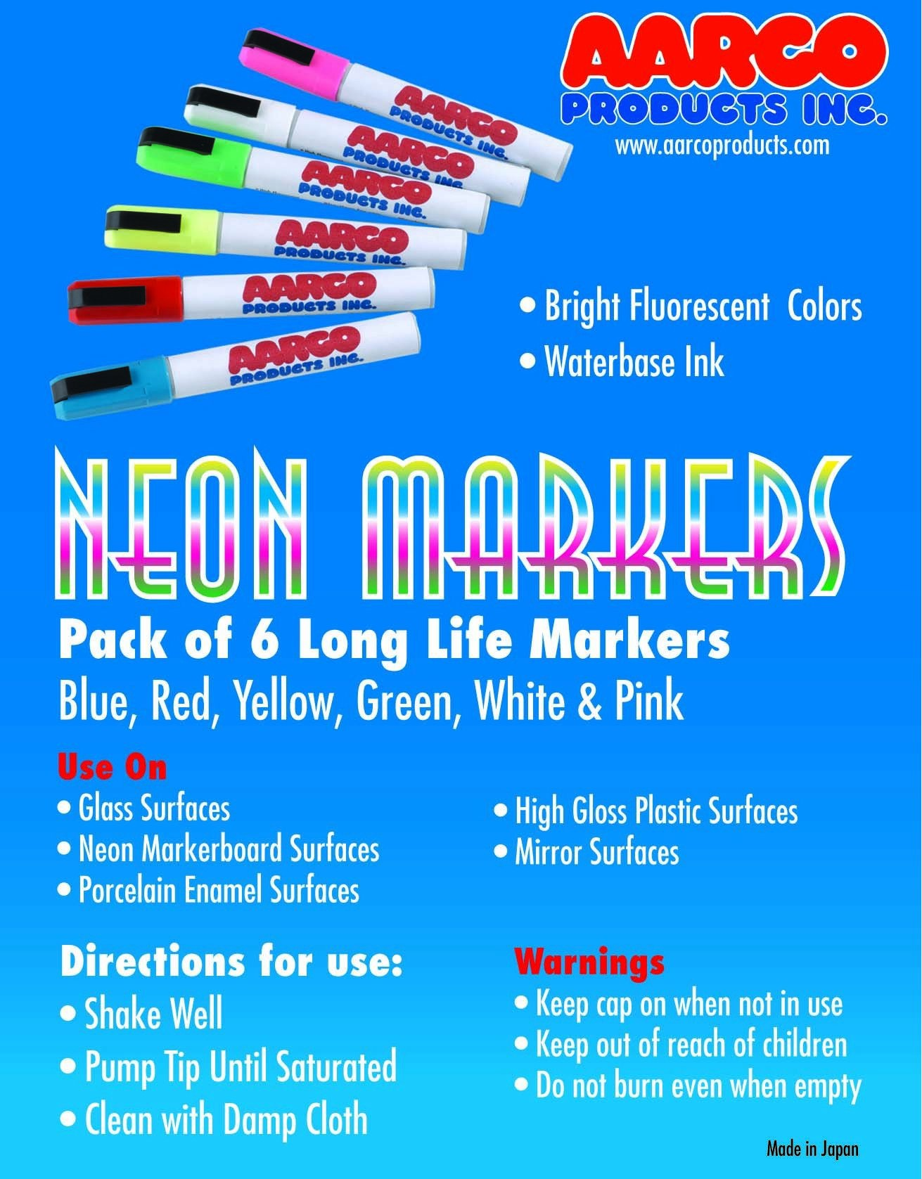 Aarco Products MFL-6 Neon Wet Markers