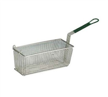 Franklin Machine Products  171-1186 Nickel-Plate d Fry Basket with Front Hook/Green Handle 16-5/8 x 8-5/8""
