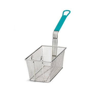 Nickel-Plated Mesh Fry Basket With Green Handle - 13