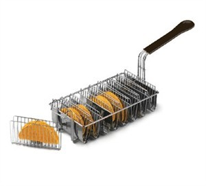 TableCraft 40 Nickel-Plated Taco Fryer Basket for 8 Tacos
