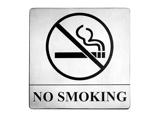 "TableCraft B14 Stainless Steel No Smoking Sign, 5"" x 5"""