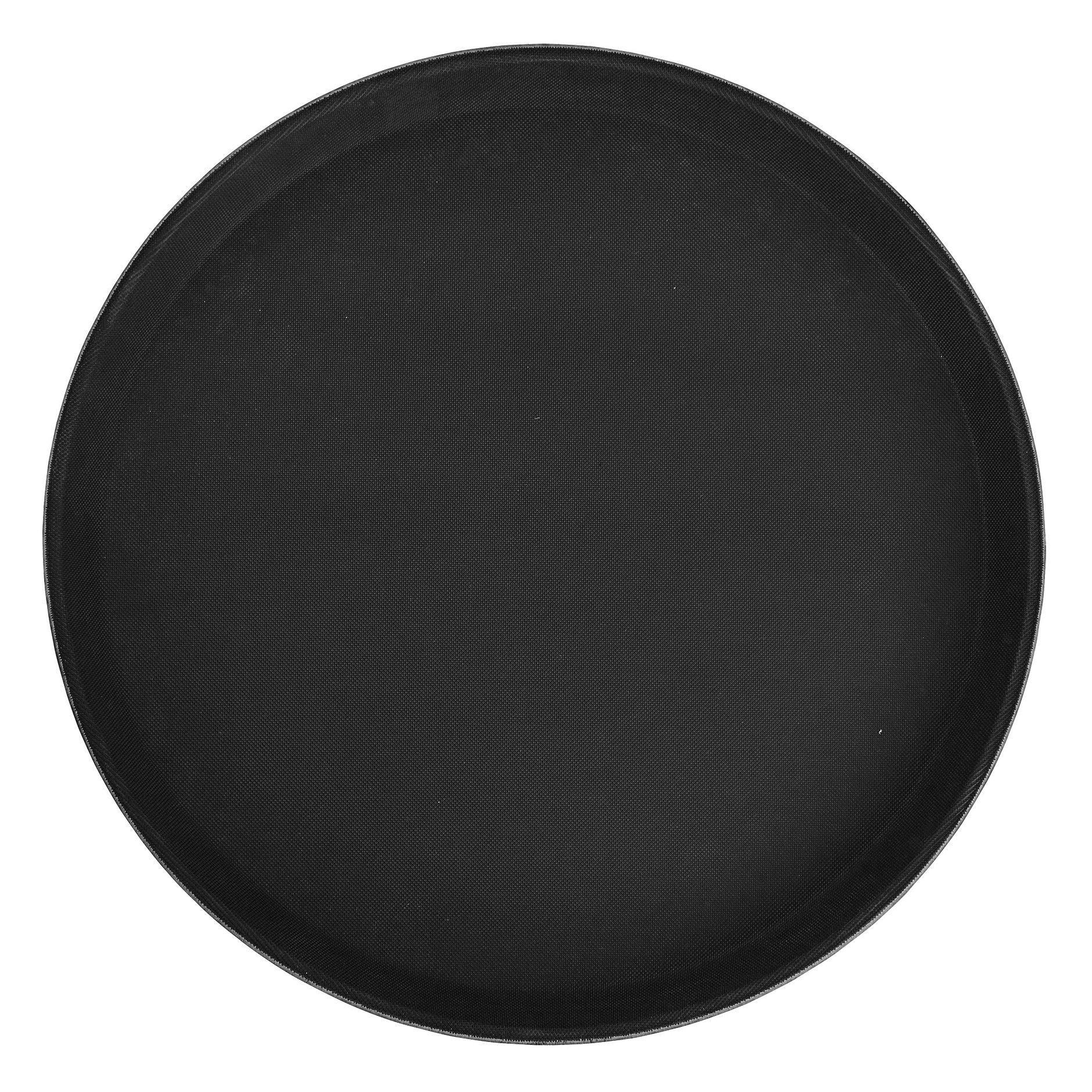 "Winco TFG-11K Round Black Non-Slip Fiberglass Tray 11"""