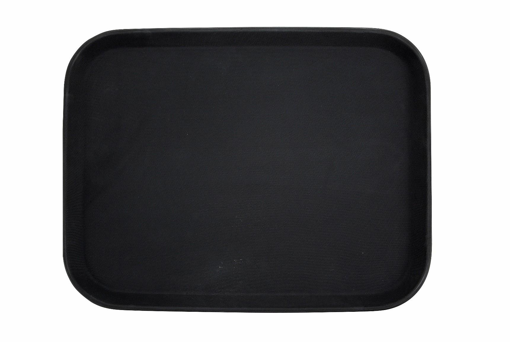 """Winco TFG-1814K Black Rectangular Non-Slip Fiberglass Tray, 14"""" x 18"""""""