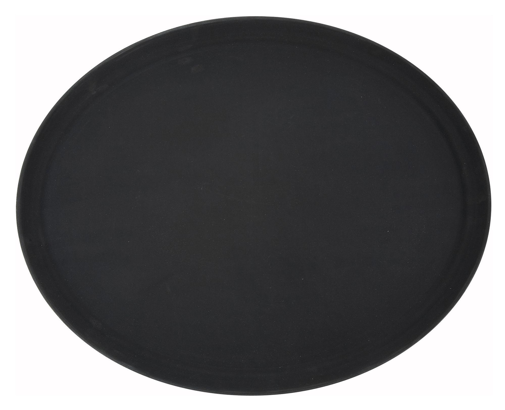 Winco TFG-2622K Black Oval Non-Slip Fiberglass Tray, 26'' x 22'