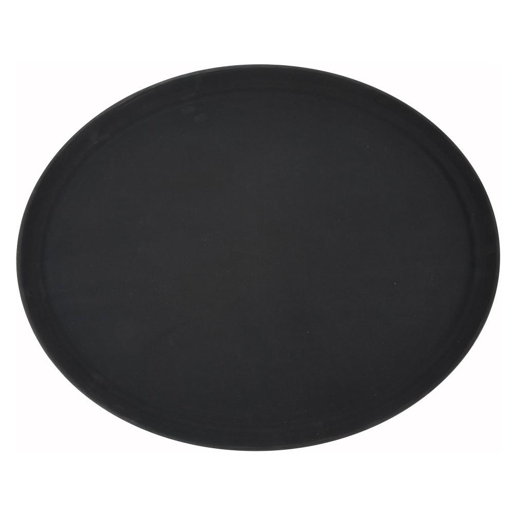 Non-Slip Fiberglass Tray, Black, 26''X22' Oval
