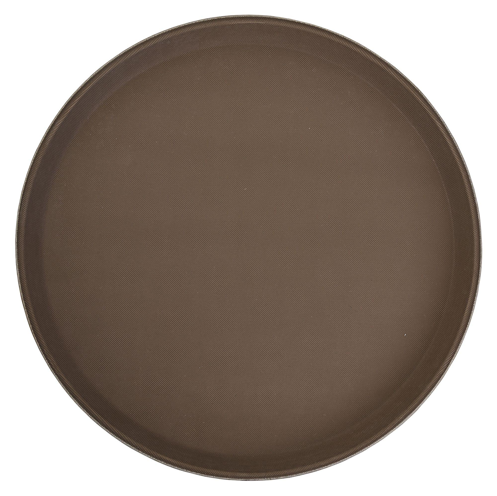 "Winco TFG-16N Brown Round Non-Slip Fiberglass Tray 16"""