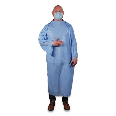 Non-Surgical Isolation Gown, Light Blue, 50/Carton