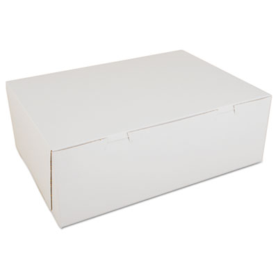 Non-Window Bakery Boxes, Paperboard, 14 1/2w x 10 1/2d x 5h, White, 100/Carton