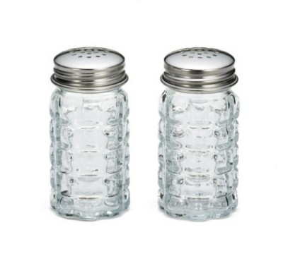 TableCraft 163S&P-2 Nostalgia Salt and Pepper Shakers with Stainless Steel Top, 1-1/2 oz.