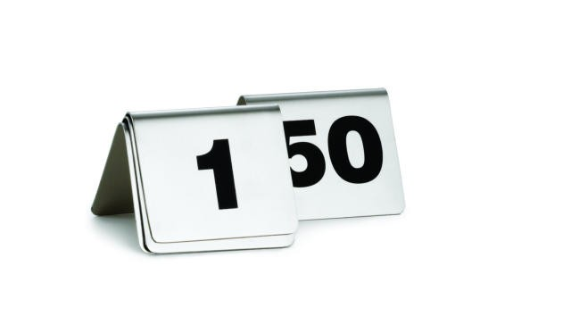 TableCraft T150 Stainless Steel Table Tent Numbers 1-50