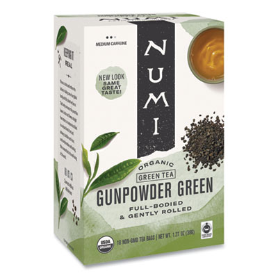 Numi Organic Teas and Teasans, 1.27 oz., Gunpowder Green, 18/Box