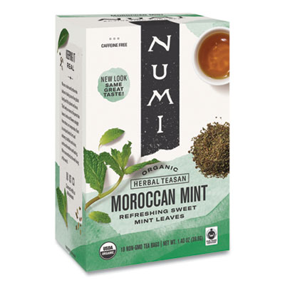 Numi Organic Teas and Teasans, 1.4 oz., Moroccan Mint, 18/Box