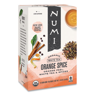 Numi Organic Teas and Teasans, 1.58 oz., White Orange Spice, 16/Box