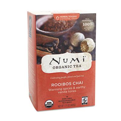 Numi Organic Teas and Teasans, 1.71 oz., Rooibos Chai, 18/Box