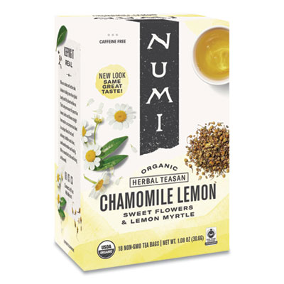 Numi Organic Teas and Teasans, 1.8 oz., Chamomile Lemon, 18/Box