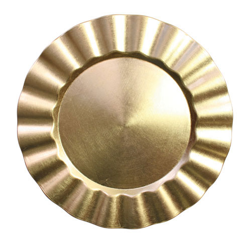 """Jay Import 1183057 Gold Round Ruffled 13"""" Melamine Charger Plate"""