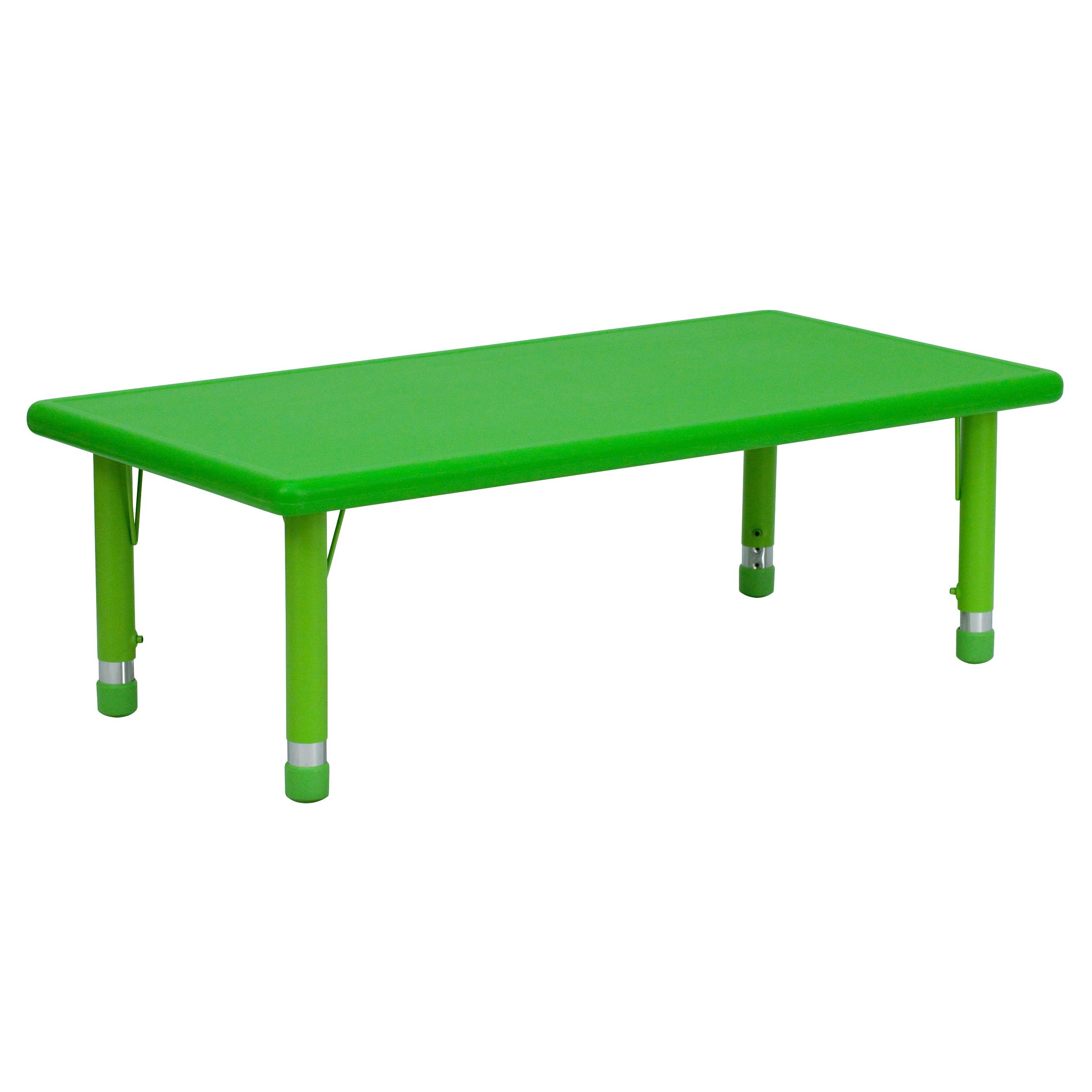 Flash Furniture YU-YCX-001-2-RECT-TBL-GREEN-GG 24''W x 48''L Height Adjustable Rectangular Green Plastic Activity Table