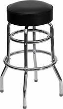 Double Ring Chrome Bar Stool with Black Vinyl Swivel Seat