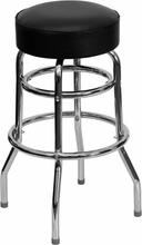 Double Ring Chrome Bar Stool with Black Vinyl Swivel Seat