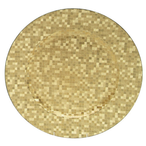 """Jay Import 1427590BK Gold Mosaic 12"""" Round Charger Plate"""