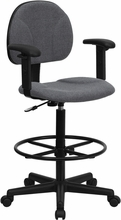 Flash Furniture BT-659-GRY-ARMS-GG Gray Fabric Ergonomic Drafting Stool with Arms