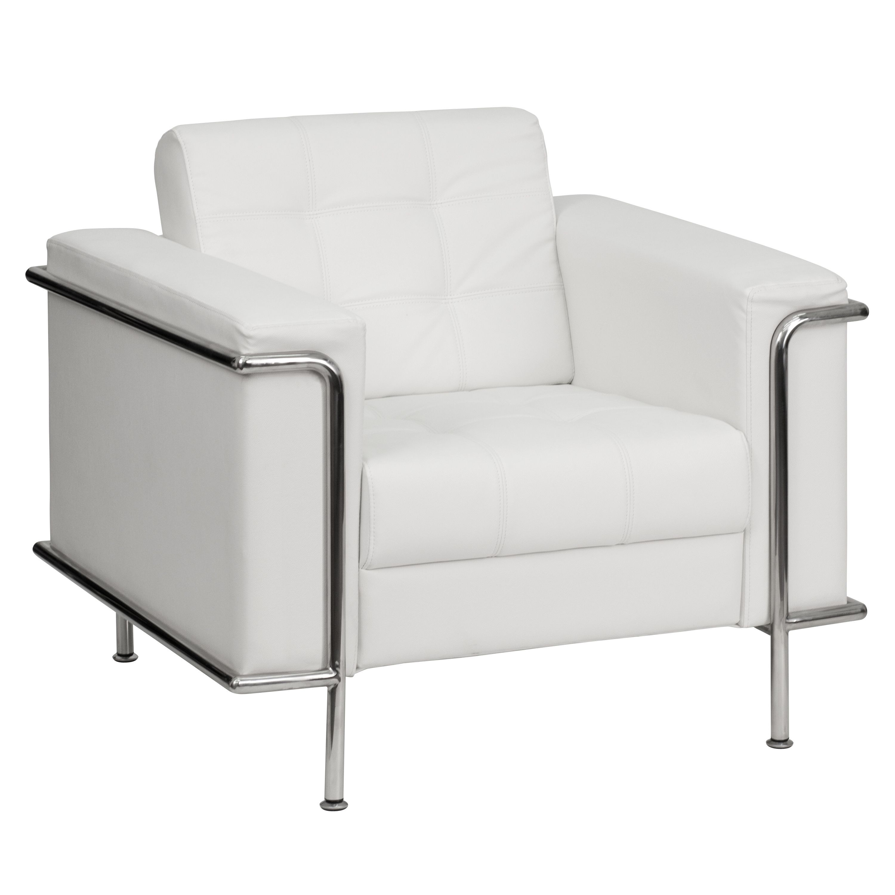 Flash Furniture ZB-LESLEY-8090-CHAIR-WH-GG Lesley Series Contemporary White Leather Chair with Encasing Frame