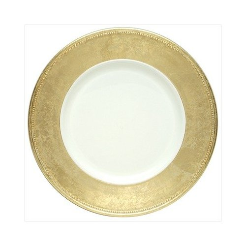 "Jay Companies A466GRK-W Broken Gold Leaf Rim 13"" Charger Plate"