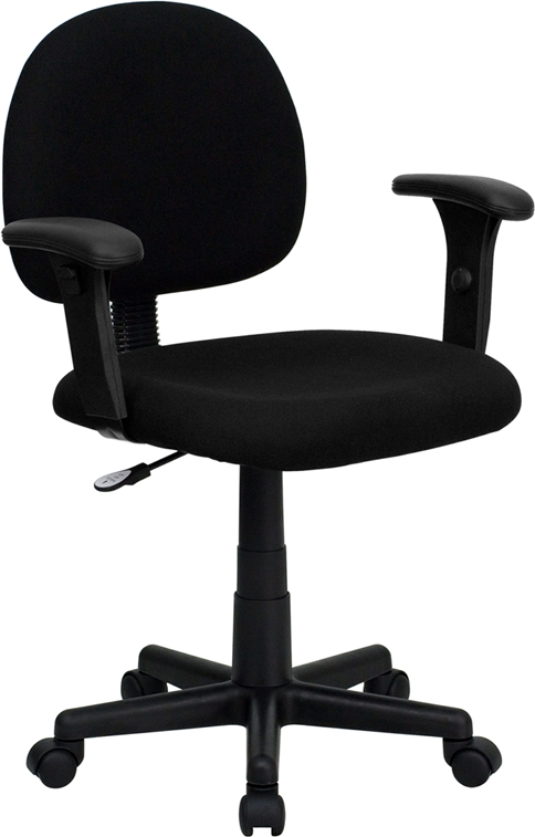 Flash Furniture BT-660-1-BK-GG Mid Back Ergonomic Black Task Chair with Adjustable Arms