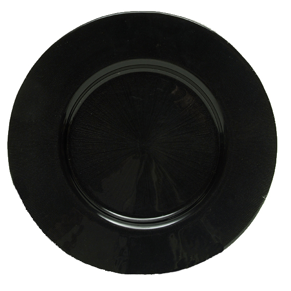 "Jay Companies 1900016 Black Glass Starburst 13"" Charger Plate"