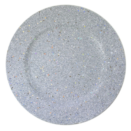 "Jay Import 1180019 Glitter & Stars Silver 12.75"" Round Charger Plate"