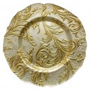 """Jay Import 1900049 Vanessa Gold 13"""" Glass Charger Plate"""
