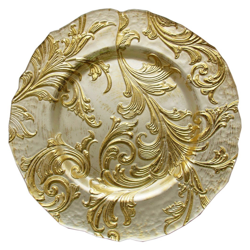 "Jay Import 1900049 Vanessa Gold 13"" Glass Charger Plate"