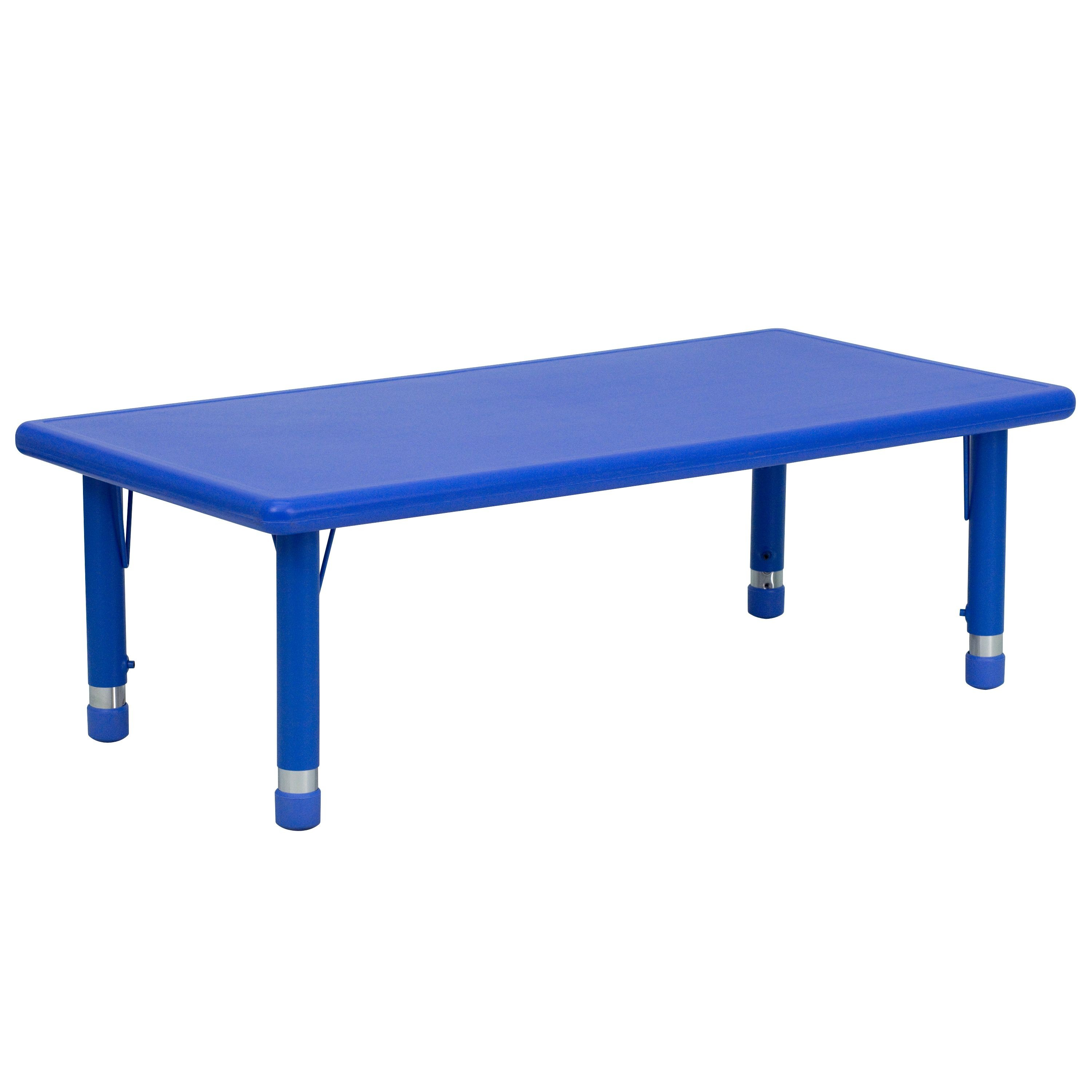 "Flash Furniture YU-YCX-001-2-RECT-TBL-BLUE-GG 24""W x 48""L Height Adjustable Rectangular Blue Plastic Activity Table"